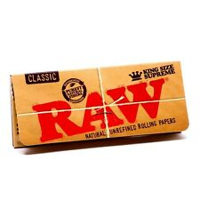 Raw Classic Natural King Size Supreme Cigarette Rolling Papers Qty 40 Leaves
