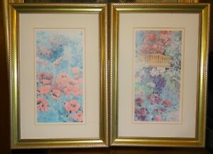 Pair of Gold Ornate Pretty Picture Painting Frames with Floral Pictures