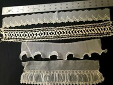 Four Adorable Remnants Salvage of Lace for Creative Projects , Vintage Sewing