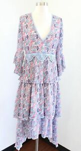 NWT Foxiedox Blue Pink Floral Tiered Pleated Lace Trim Midi Dress Size S Boho