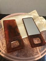 VINTAGE VANITY COMB MIRROR SET IN ORIGINAL Pouch Set Free Shipping Brown Plastic