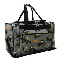 "Canvas 20"" carry on airplane/duffle/gym/overnight bag Green Tractor Trucks Farm"