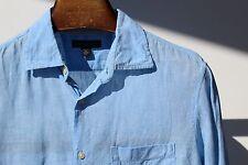 Banana Republic Classic M (15-15.5) Gentleman's Light Blue 100% Linen LS Shirt