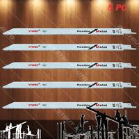 "5x Metal Pipe Nail Wood Cutting 14 TPI 9"" Flexible Reciprocating Saw Blades"