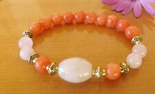 Rose Quartz Orange Malay Jade 8mm Gemstone Beads Bracelet Love Friendship Yoga
