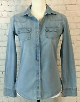 Denim Co Womens Size 2 Light Wash Snap Front Long Sleeve Lightweight Denim Shirt