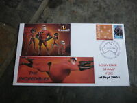 2004 THE INCREDIBLES MOVIE AUSTRALIAN P STAMP ISSUE FDC