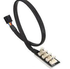 JBtek All Black Sleeved 4 Way PWM Splitter Fan Hub for 12V Computer Fans