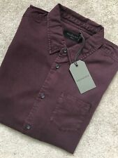 """ALL SAINTS MEN'S OXBLOOD RED """"DILLA"""" LONG SLEEVE SHIRT TOP - SMALL - NEW & TAGS"""