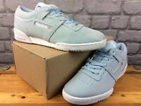 REEBOK MENS UK 9 EU 43 WORKOUT LO CLEAN PALE BLUE SUEDE TRAINERS RRP £60 M