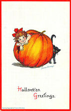 Halloween Embossed Frances Brundage Giant J-O-L Black Cat #123 Postcard