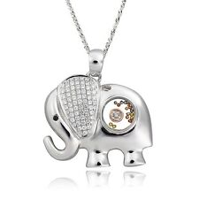 De Buman Two-tone CZ & Crystal Elephant Necklace 925 Silver Chain 24 INCHES