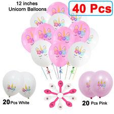 40 Pcs Unicorn Birthday Party Pink and White Balloons Supplies Set USA