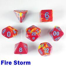 Elemental Poly 7 Dados Rpg Set Fire Storm Rojo Amarillo Azul dos tonos 5e DND D&D HD