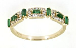 Emerald Baguette Gemstone 14K Yellow Gold Real Diamond Fancy Fine Band 0.32CT