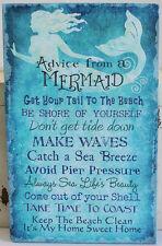 ADVICE FROM A MERMAID Coastal Blue Seaside Beach Canvas Wall Home Decor Sign NEW