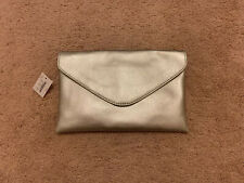 J. Crew Metallic Silver Leather Envelope Clutch With Chain Strap NWT