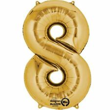 "Number 8 Gold Foil Balloon 16"" 40cm Air Fill Age Name Birthday Anniversary"