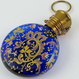 ANTIQUE MOSER BOHEMIAN COBALT GLASS ENAMELED CHATELAINE PERFUME SCENT BOTTLE #2