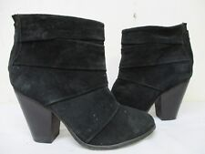 Steve Madden Arrena Black Suede Leather Zip High Heel Ankle Boots Women Size 8 M