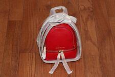 NWT Michael Kors Rhea Zip Mini Extra Small XS Messenger Backpack Handbag Red