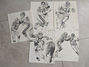 1981 NFL Shell Oil Set of 5 Posters Chicago Bears Football Walter Payton