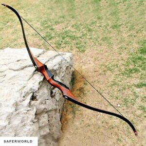 Recurve Bow Archery Handmade Traditional Longbow Hunting Shooting Lightweight S