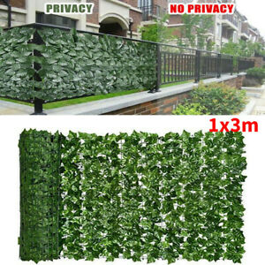 3m x 1m Artificial Ivy Leaf Hedge Roll Privacy Fence Screen Wall Landscaping