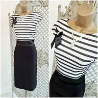 FRANK LYMAN  UK 10 Lace Stripe Crystal Bow Stretch Pencil Dress  Free Postage