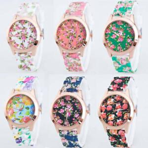 Fashion Printed Flowers Watch For Women Casual Silicone Quartz Analog Wristwatch