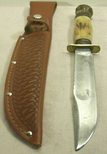 """1930's~MARBLES 6"""" IDEAL~STAG ON STAG ANTIQUE HUNTING KNIFE w/NEW LEATHER SHEATH~"""