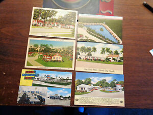 Lot of 6 Vintage Linen Motel Postcards from Florida, Various Cities, Unposted