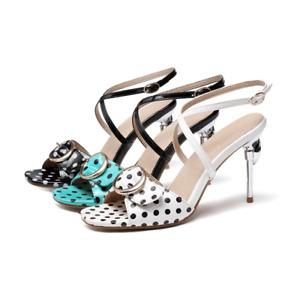 Women's Slingbacks Sandals Polka Dot Stiletto High Heels Peep Toe Buckle Shoes