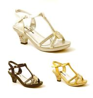 GIRLS KIDS LOW HEEL DIAMANTE TRIM WEDDING EVENING PARTY SANDALS SHOES PUMPS SIZE