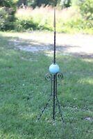 Antique Victorian 1880s-1920s Franklin Lightening Rod w/ Blue Milk Glass Globe