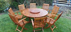Round Teak Garden Table And 8 Chairs