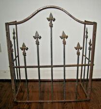 "Old Fleur de Lis Iron Fireplace Guard Ht 37"" Wdt 30 Side panel 15"" Wght 20lbs"