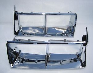 1984-1987 Buick Regal T-Type Chrome Headlight Doors. Pair Headlamp Bezels