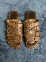 BORN Men's Fisherman Open Toe Sandals Size US Size 10 Brown Leather Straps M6072