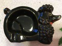 "Black POODLE Ashtray VINTAGE Ceramic SMALL 3 1/4"" x 2 1/4"" Japan PERFECT Dog"