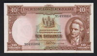 NEW ZEALAND P-158dL. (1967) Ten Shillings - Fleming.. Last Prefix 9S..  aU-UNC