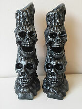 Pair of SKULL Silver Candle Holder Ornaments - Gothic Halloween Pagan
