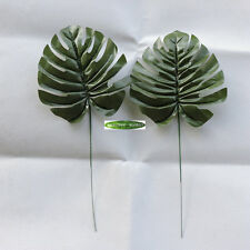 20pcs Fabric Artificial Palm Spray Fern Turtle Leaf Plant Tree Branch Green Home