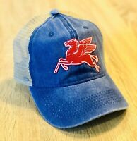 MOBIL PEGASUS Logo Hat Cap Gas SOCONY Weathered Distressed Look Oil Man Cave Blu