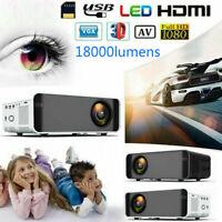1080P HD 3D LCD LED VIDEO PROJECTOR AV/VGA/USB/HDMI Input Home Theater Cinema