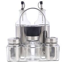 6 Tlg Menage Set Gewürzregal Öl Essig Spender Flasche Salz Pfeffer Streuer Mühle
