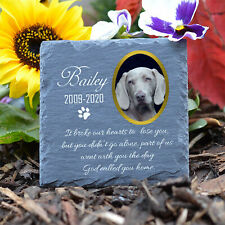 Personalised Pet Memorial Plaque Cat Dog Paw Photo Slate Tombstone Grave Marker