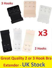 3PC 3 Colour Bra Extender 2 /3 Hooks Ladies Extension Strap Underwear Strapless