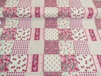 NEW! PATCHWORK PolyCotton FABRIC Pink Floral FLOWER CHECK Reduced Prices