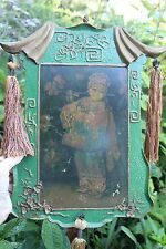 Chinese antique folk painting on carved wooden board, Peasant Girl, Qing dyn?